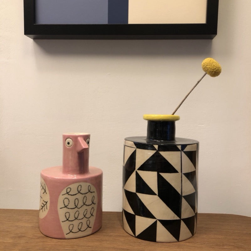 Ken Eardley black and yellow ceramic Bottle Vase and Bird Vase in soft pink