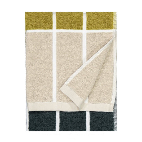 Tiiliskivi Hand Towel 50x70cm in dark green, sand and brass