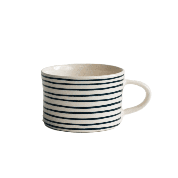 Ceramic teal blue thin striped mug