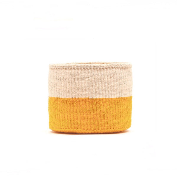 Duo Colour Block Sisal Basket Small in orange and natural