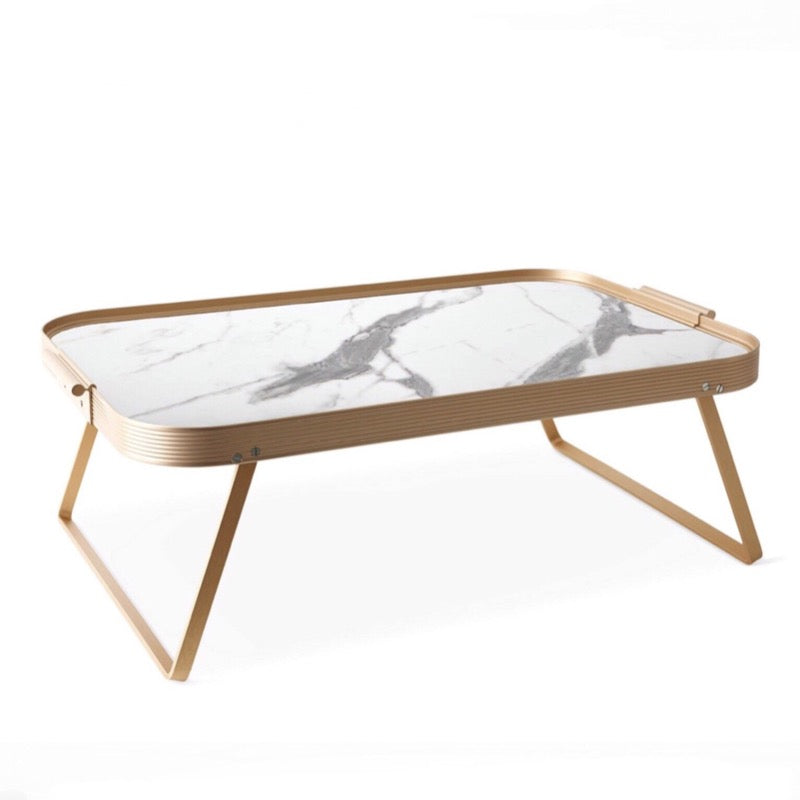 White marble and gold trimmed Breakfast Lap Tray by Kaymet