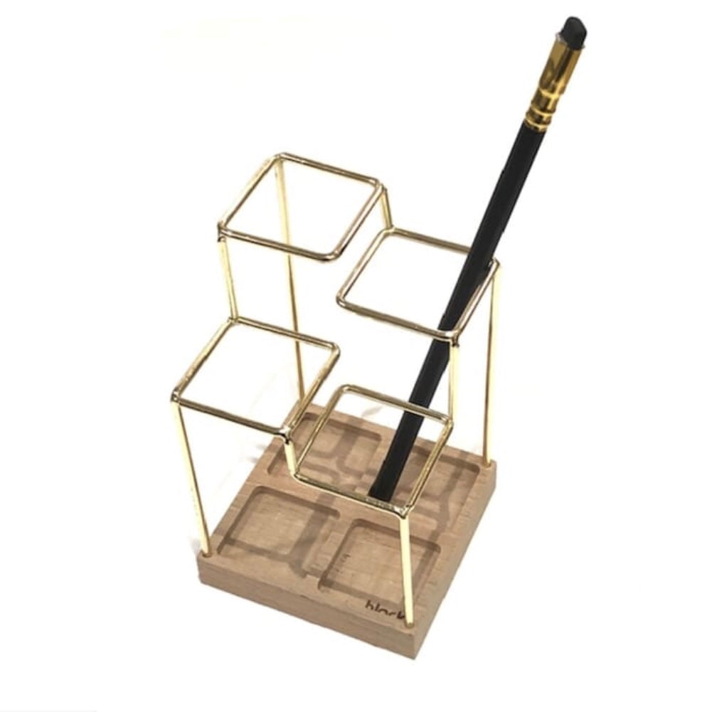 Brass and wood Sketch desk organiser tidy