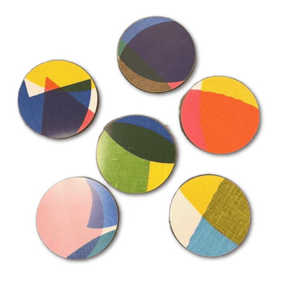Set of 6 colourful round melamine coasters in the Remo pattern by Jonna Saarinen