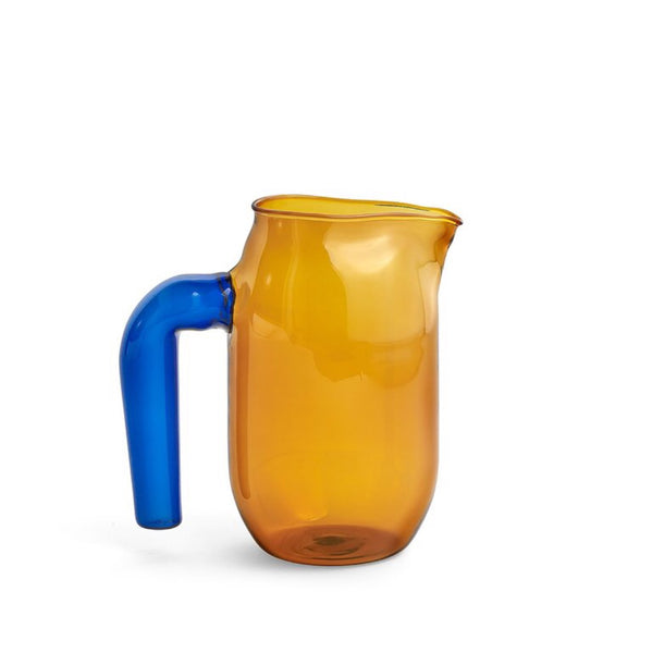 Amber borosilicate glass jug with blue handle by HAY