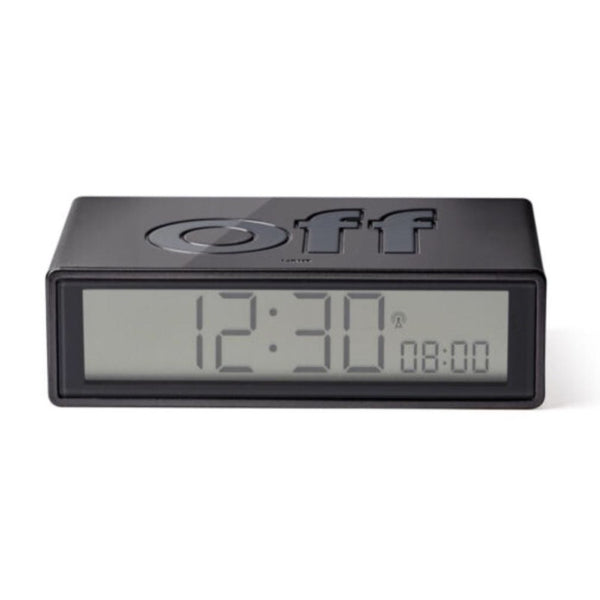 Lexon flip+ radio controlled alarm clock in Rubber dark grey