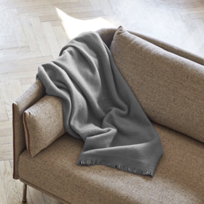 Soft wool blanket in steel grey by Hay