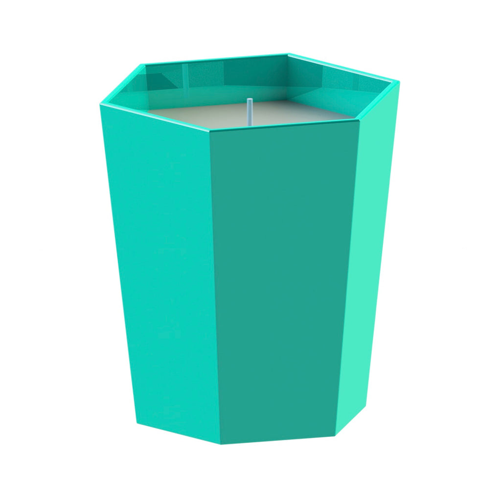 Turquoise and dark grey Skittle Hex Scented Candle