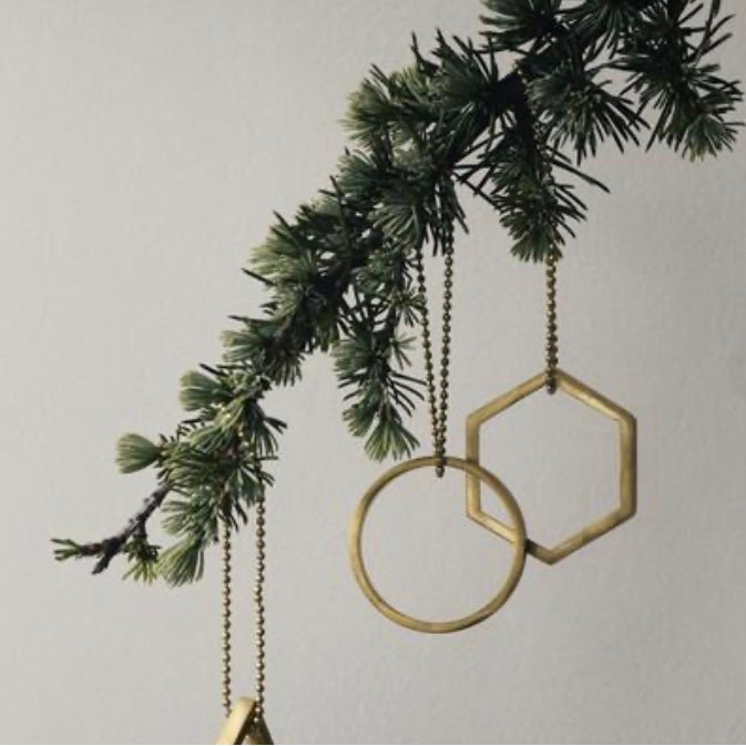 Solid brass tree ornaments by Ferm Living