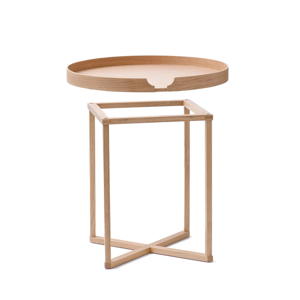 Damien Oak Round Side Tray Table