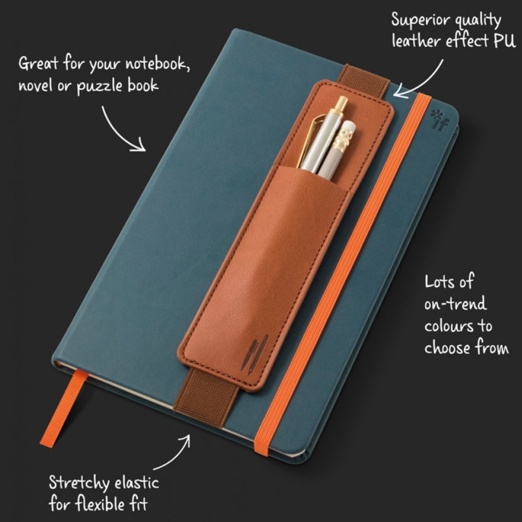 Brown notebook pen pouch