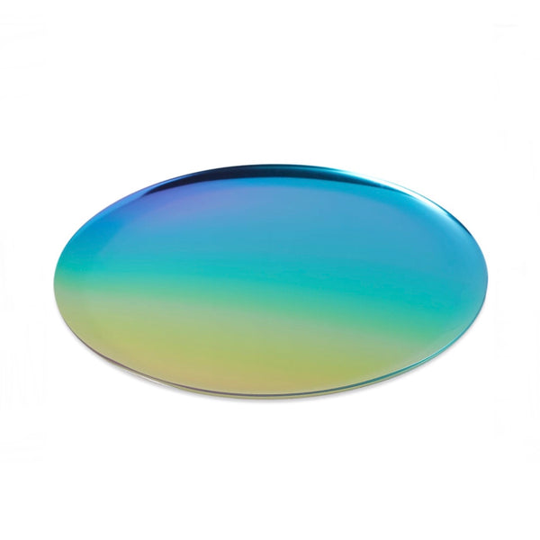 Round steel rainbow coloured serving tray