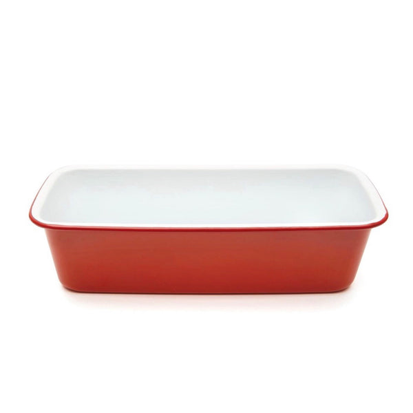 Red and white Enamel Loaf Baking Tin