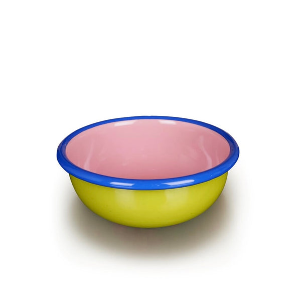 Green, pink and blue rimmed enamel bowl