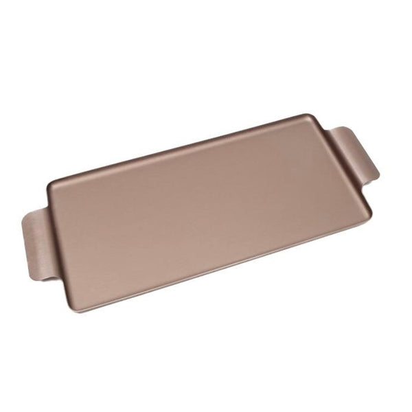 Rectangular brushed mocha aluminium pressed tray