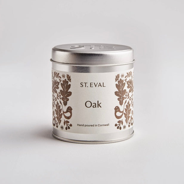St Eval Oak scented candle tin
