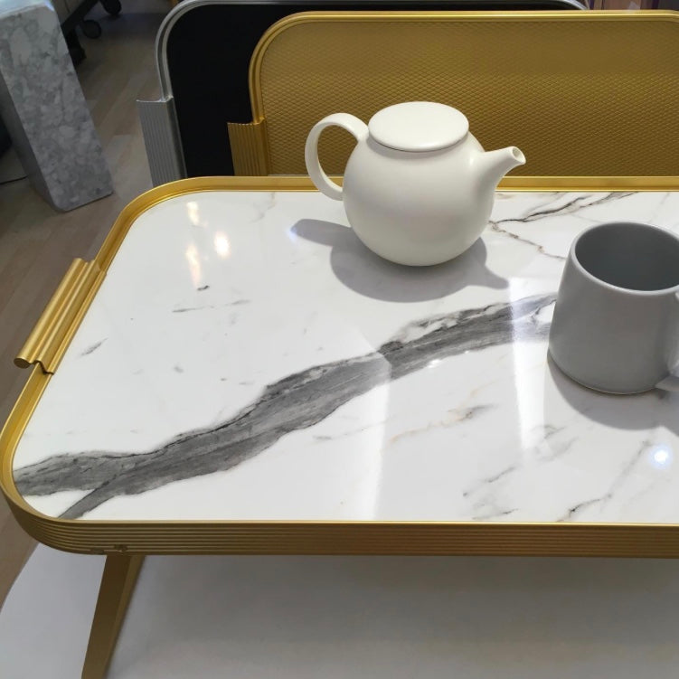 White marble and gold trimmed Breakfast Lap Tray by Kaymet at Indish Interiors