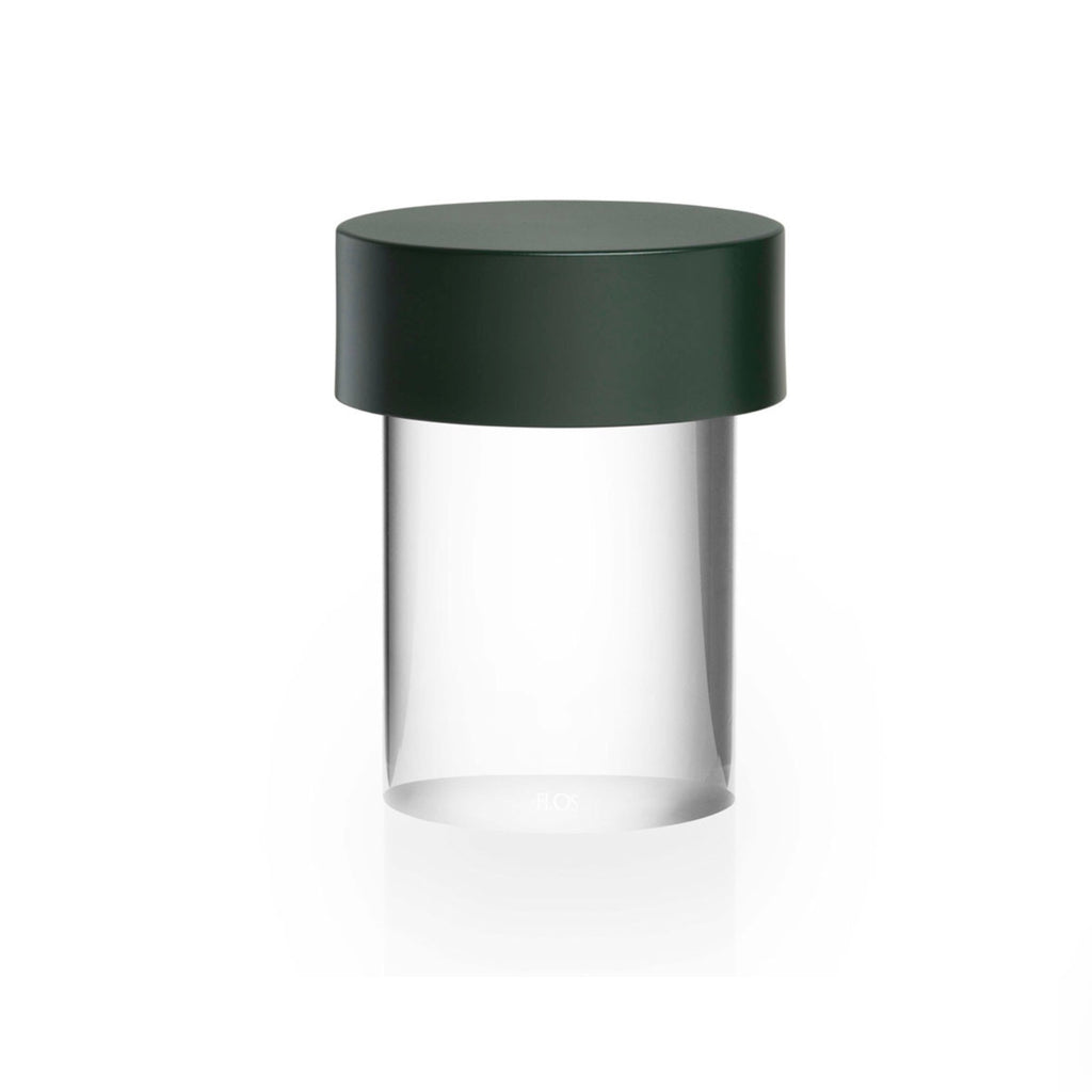 Flos Last Order LED solid cylindrical crystal glass lamp with matt green top