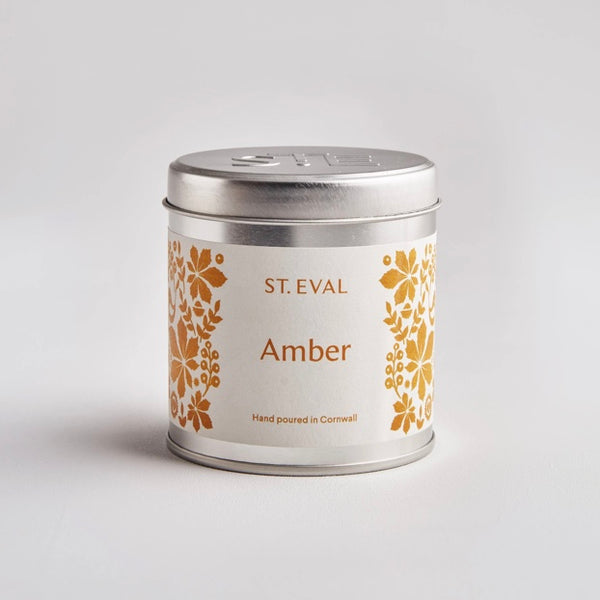 St Eval Amber scented candle tin