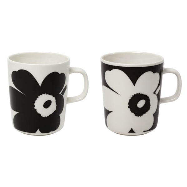 Marimekko Juhla Unikko boxed pair of mugs in black and white