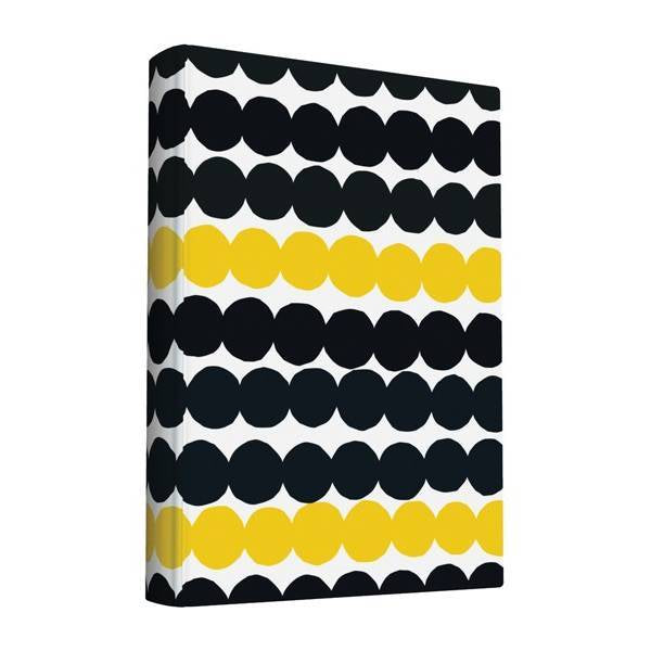 Small cloth covered journal in black and yellow dots Rasymatto pattern