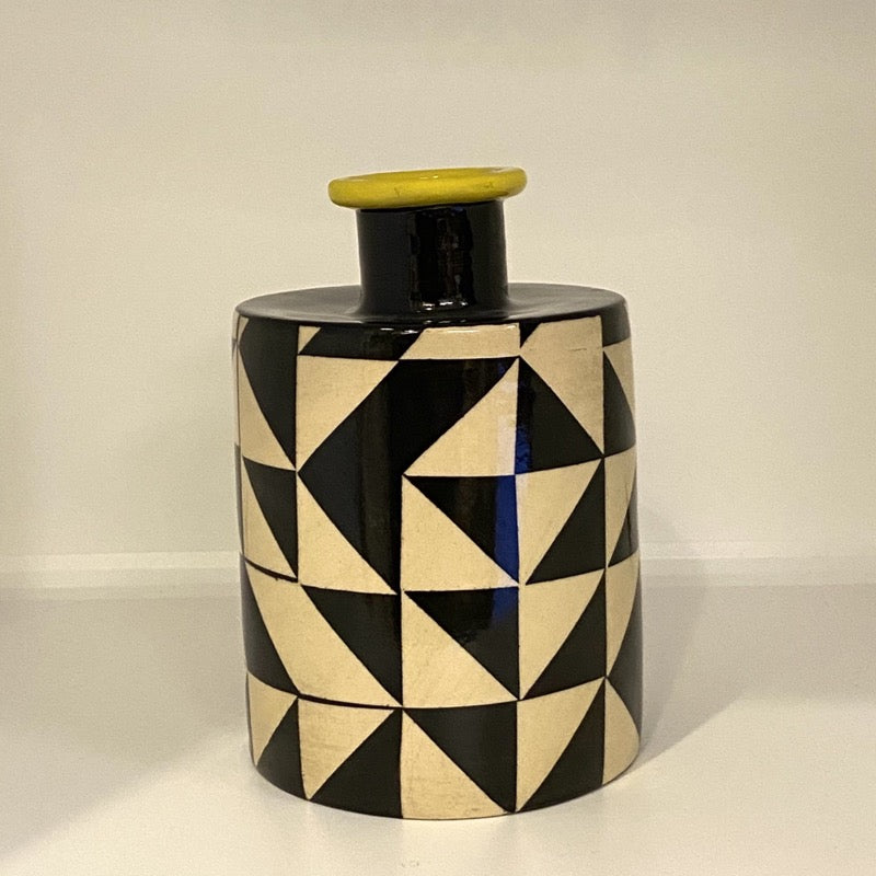 Ken Eardley black and yellow ceramic Bottle Vase