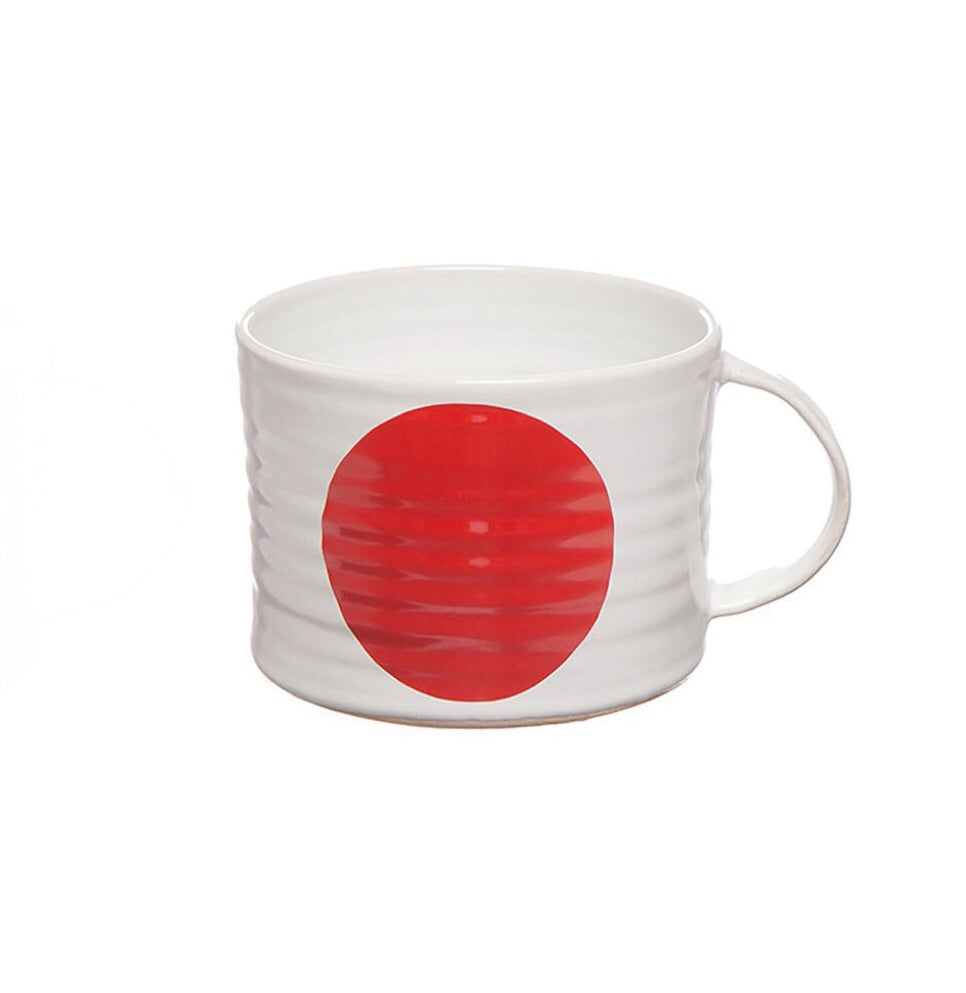 Camilla Engdahl's white stoneware cup with red dot