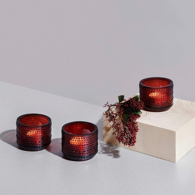 Kastehelmi Glass Votive Cranberry Red