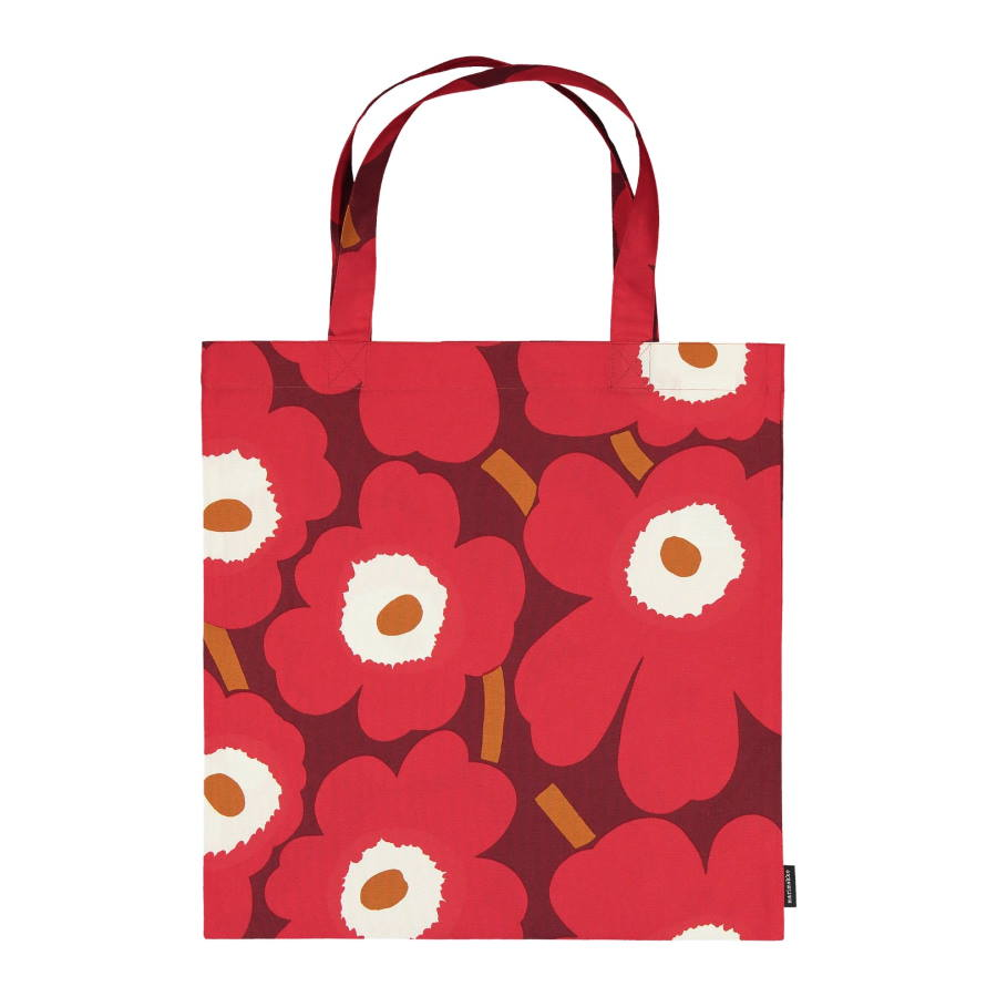 Pieni Unikko Cotton Tote Bag 44x43cm in dark red, red and light grey by Marimekko