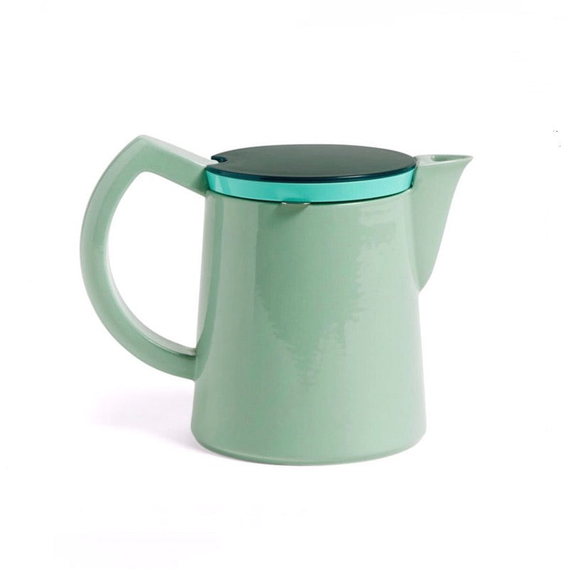Mint ceramic coffee pot with steel filter and plastic lid