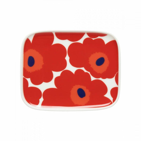 Marimekko Unikko side plate 15 x12 cm in white, red and blue