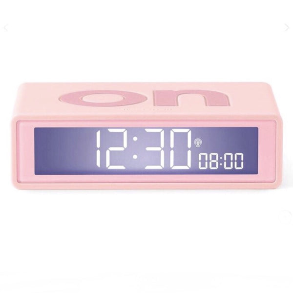 Lexon flip+ radio controlled alarm clock in rubber pink