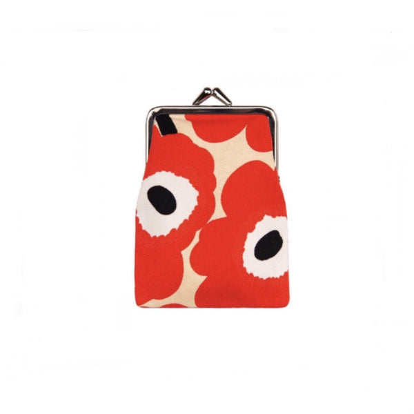 Kortti Kukkaro Mini Unikko Purse in beige, red and off-white