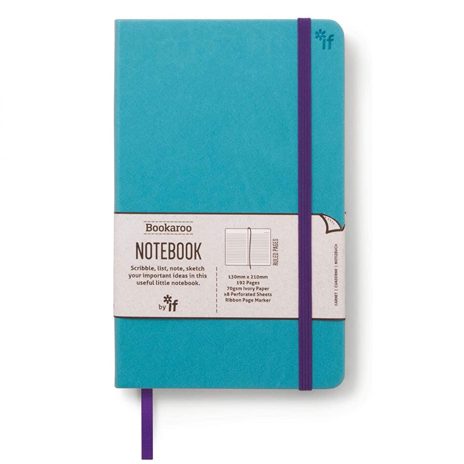 Turquoise cover lined notebook