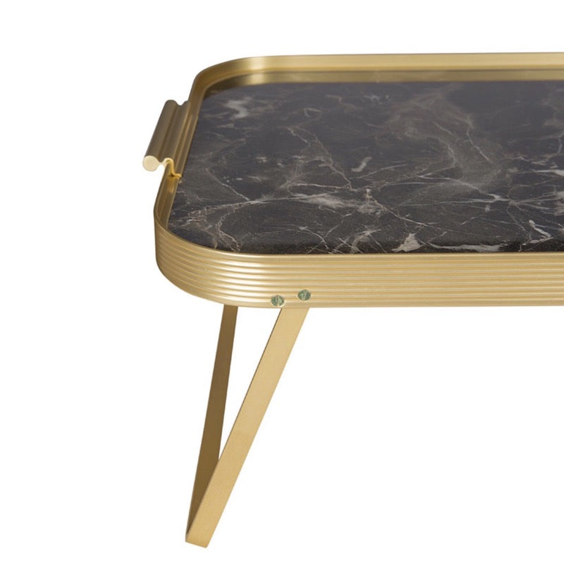 Black marble and gold trimmed Breakfast Lap Tray by Kaymet