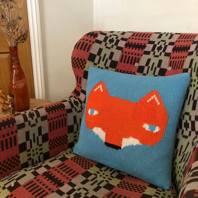 Wool Fox Cushion in blue by Donna Wilson