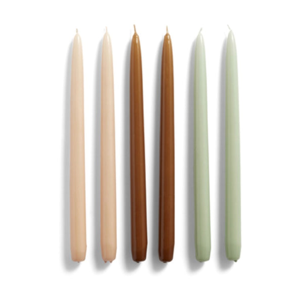 Set of six tall Conical candles in Peach, caramel, mint by Hay