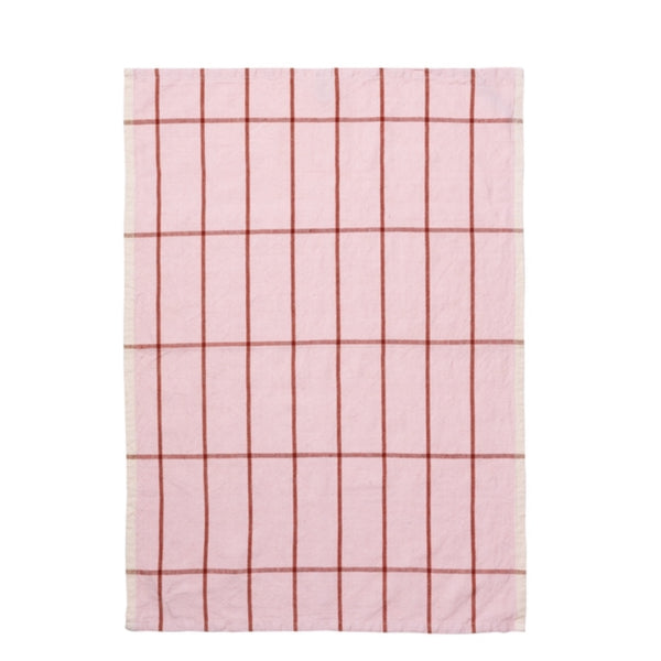 Rose pink and red grid pattern cotton tea towel