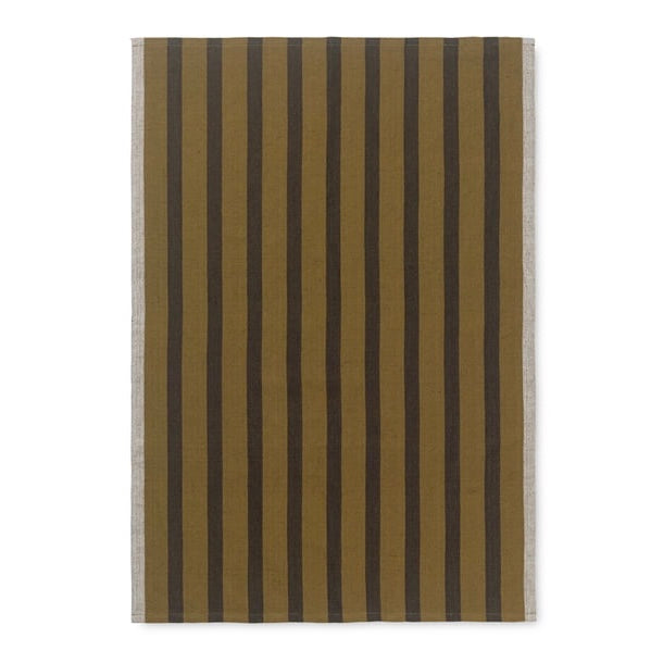 Sugar cane yellow  with black stripe pattern cotton tea towel