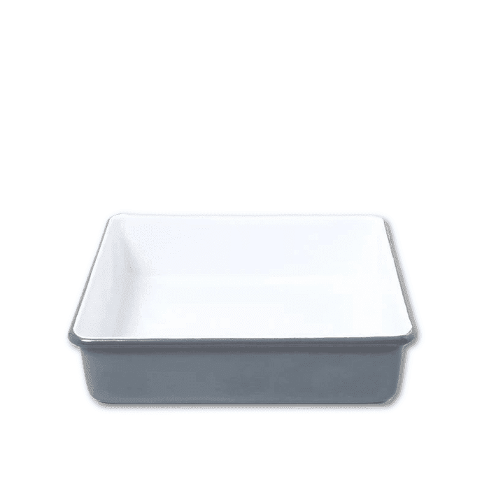 Grey and white Enamel Square Baking Tray by Falcon Enamelware