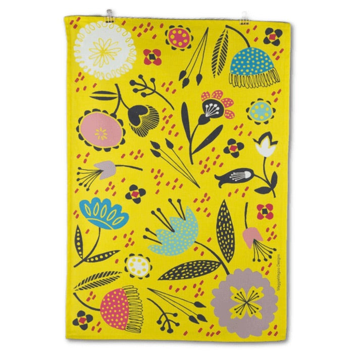 Maggie Magoo mustard floral cotton tea towel
