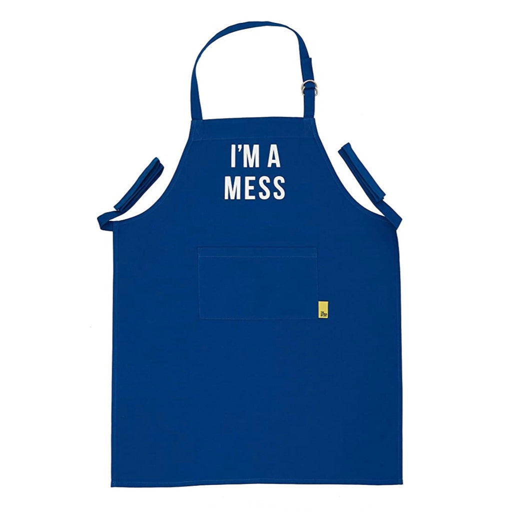 I'm a Mess Blue Cotton Apron by The School of Life