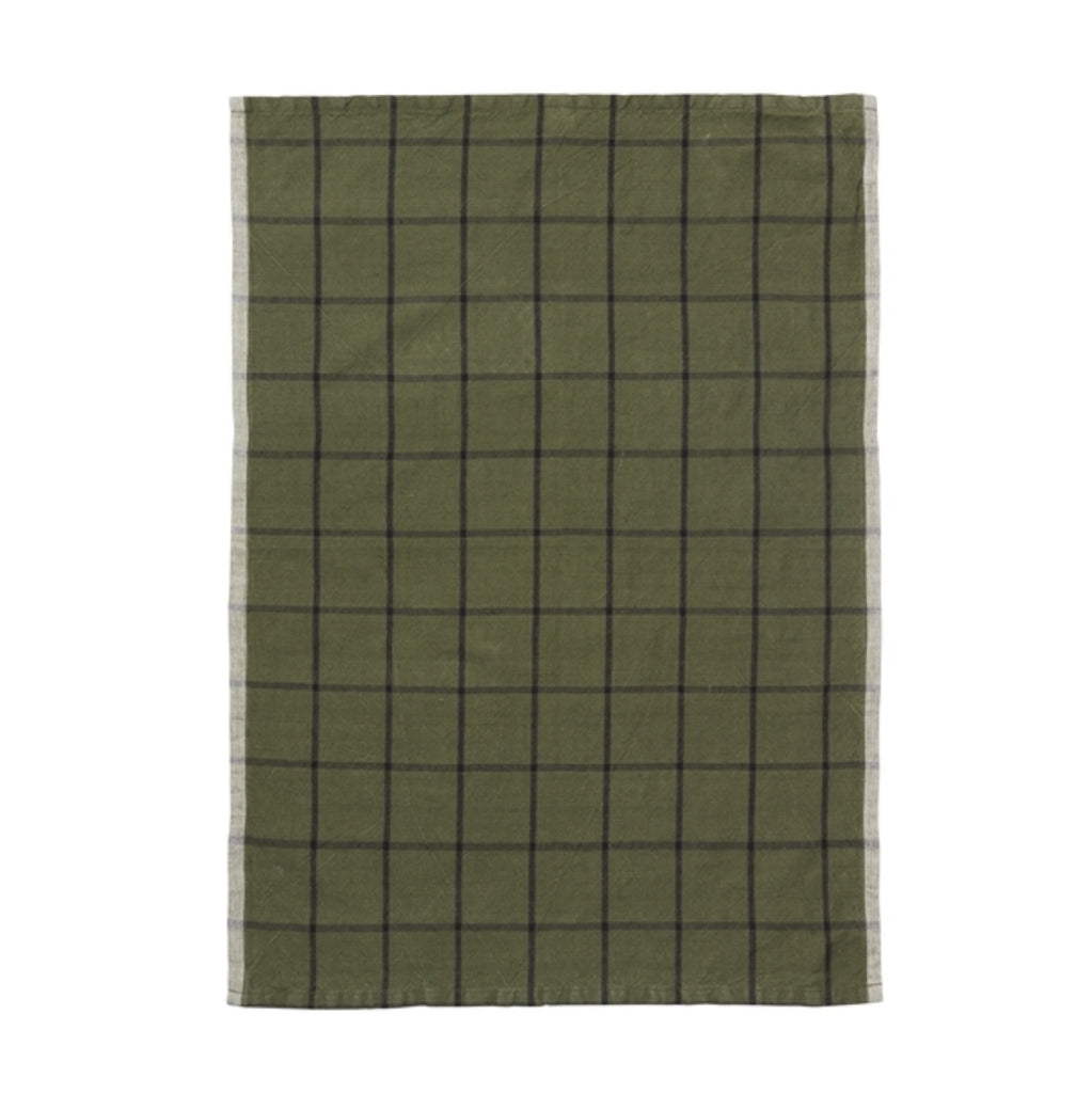 Green and black square pattern cotton tea towel