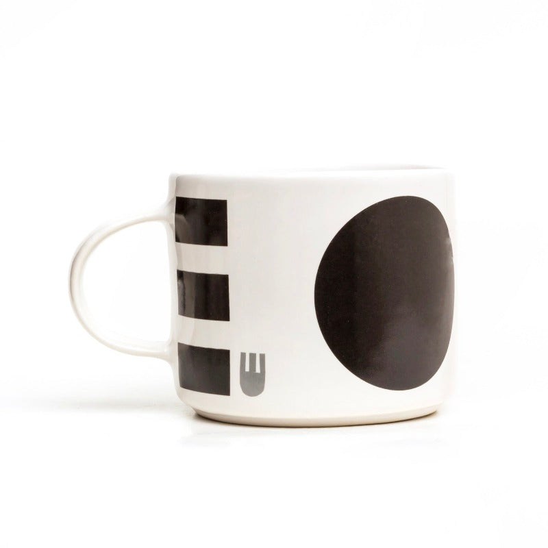 Camilla Engdahl's Dido stoneware mug in black spots and stripes