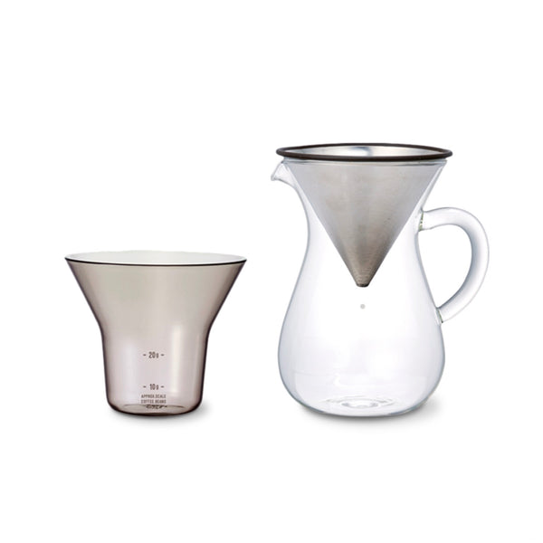 Glass and stainless steel Slow Coffee Carafe Set - 2 Cups