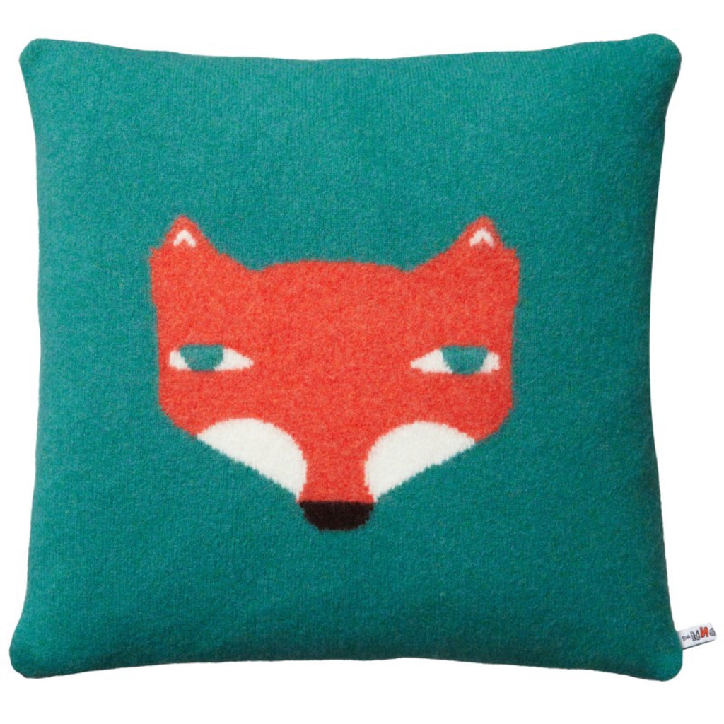 Wool Fox Cushion in jade green by Donna Wilson