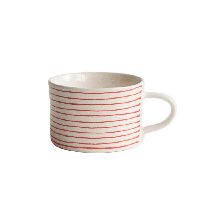 Ceramic thin red striped mug