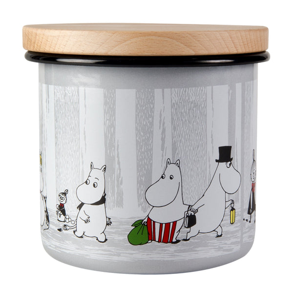 Moomin Enamel Jar with Wooden Lid