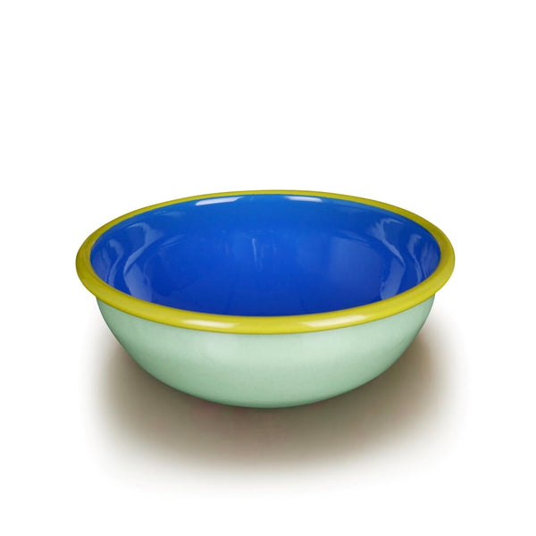 Mint, blue and green rimmed enamel bowl