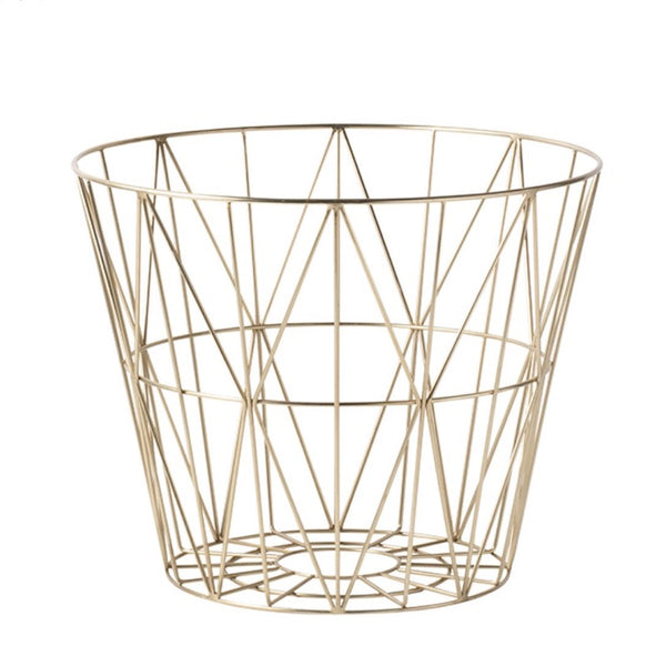 Brass coloured Wire Basket Medium