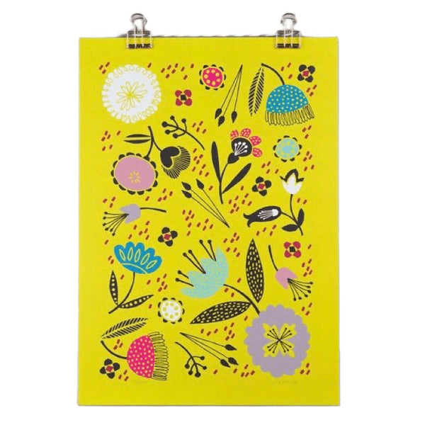 Yellow Floral A4 Giclee Print by Maggie Magoo